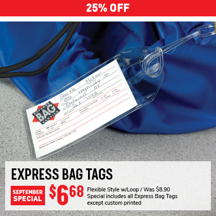 Cleaner's Supply Express Bag Tags Monthly Special Sale