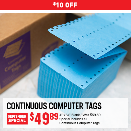 Cleaner's Supply Computer Tags Monthly Special Sale