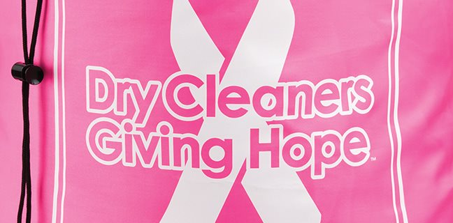 Dry Cleaners Giving Hope Breast Cancer Support Donation Bag